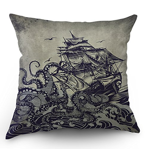 Kraken Pillow Cover Vintage Sail Boat Ocean Waves Octopus Throw Pillow Case 18 x 18 Inch Home Textile European Style Cotton Linen Cushion Cover for Sofa Bed Purple Black (Throw Octopus Pillow)