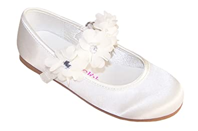 14445ca2220c Girls Ivory Satin Ballerina Shoes for Flower Girls Bridesmaid and Special  Occasions Infant Size 4
