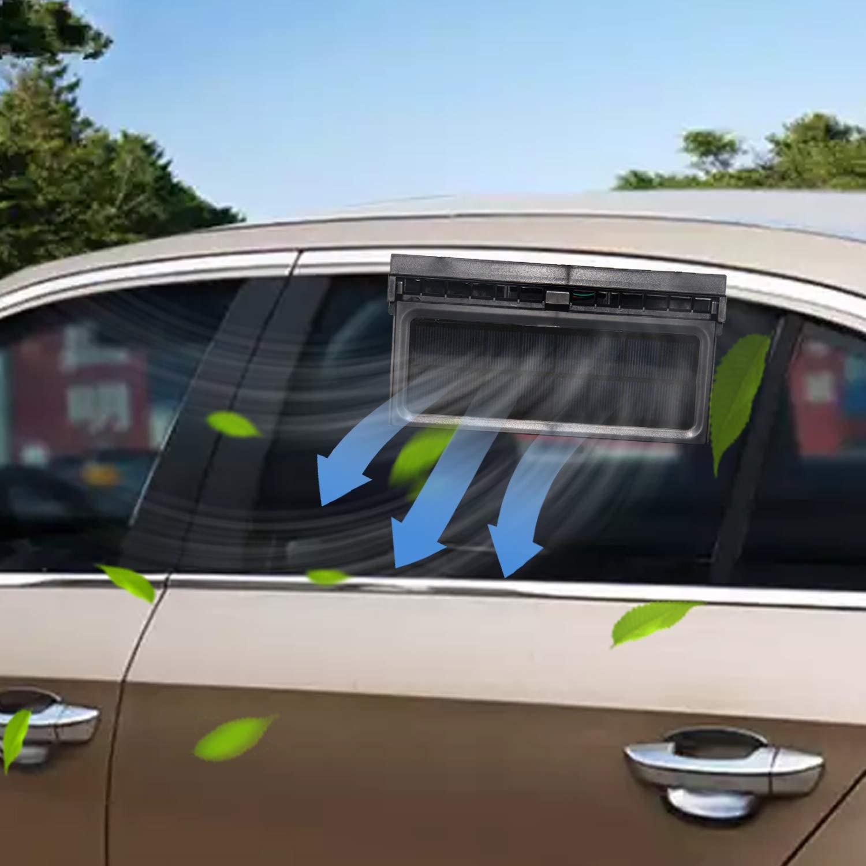 STYLOOC Solar Powered Car Window Windshield Auto Air Vent Fan Auto Ventilator System,Exhaust Fan Vehicle Radiator Vent with Ventilation(Black)