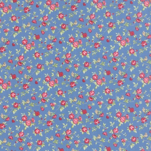 (Quilting Fabric - Windermere Prints Roses on Blue - Moda - Per Yard)