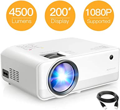 Mini Projector, APEMAN 4500 Lumen 1080P Supported Projector, 200 Display 50000 Hrs LED Life, Dual Speakers Portable Projector, Compatible with HDMI, ...