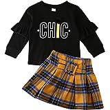 Tutu Skirt Dress Toddler Place Girls 2Pcs Princes Long Sleeve Plaid Jacket Coat Tops
