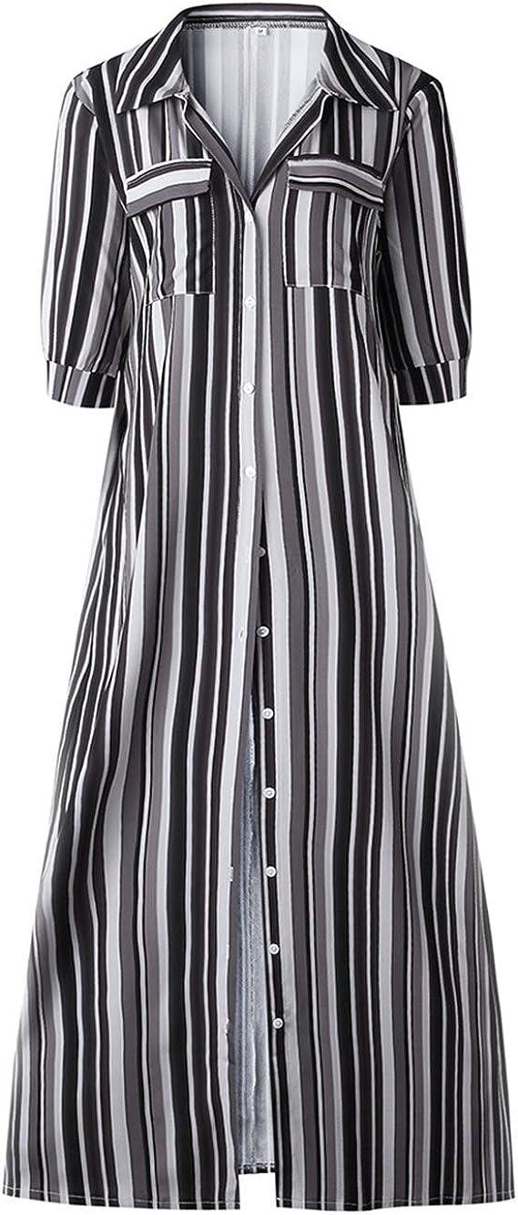 Festnight Womens Rainbow Loose Button Down Stripes Dress Plus Size Half Sleeve Boho Maxi Long Dress with Pockets
