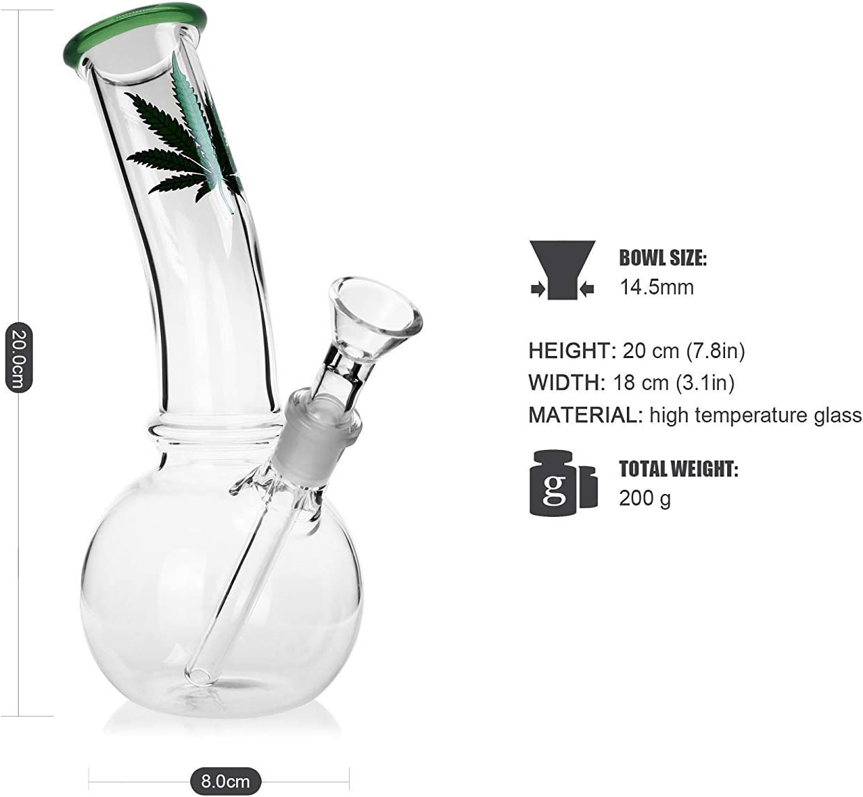 Update Green Mouth Perfect Water Bottle Design 8 Inch Pipe Can Handmade Glass Vase -Glass Big Water Chamber Feoinvc