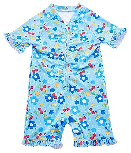BeautyIn Baby Boys Girls' Short Sleeve Rash Guard Swimsuit Sunsuit 1 Piece UPF 50