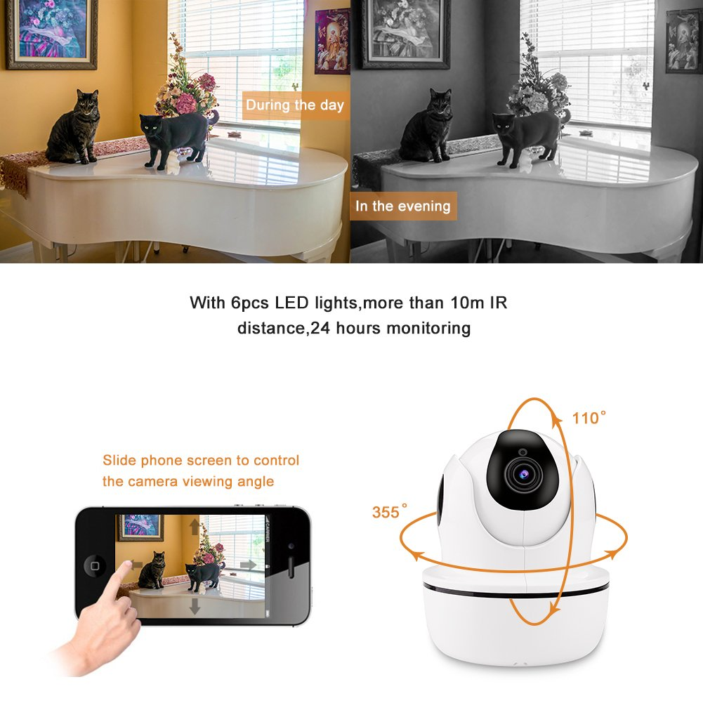 1080P HD Security Camera,Sea Wit Wireless IP Camera with Pan/Tilt/Zoom, Two Way Audio,Control Appliances,107°Viewing Angle,Night Vision,Home Surveillance Camera,Baby Pet Nanny Camera Puppy Cam –White by Sea Wit (Image #5)