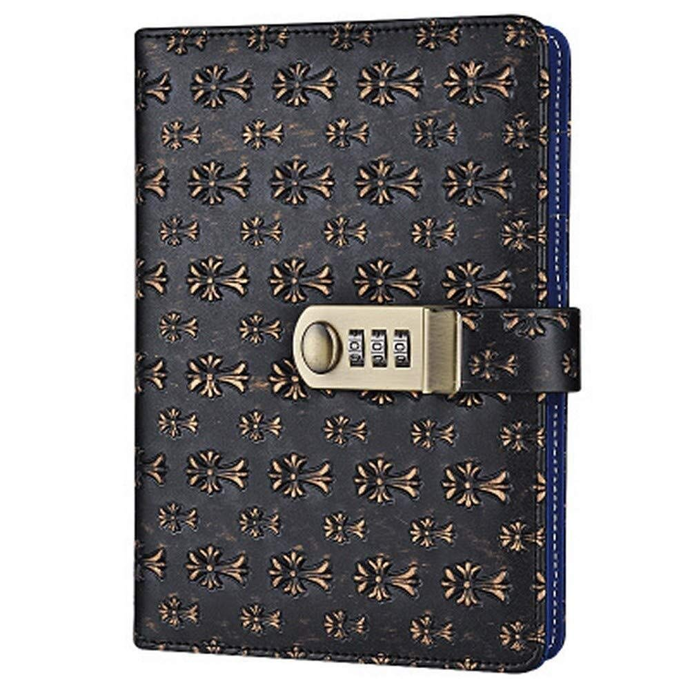 PU Leather Notebook Writing Journal Diary with Password Lock, Floral Pattern Wire Binding Lined Daily Notepad ,Multi-Color (Color : E)