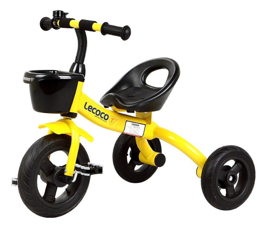 DACHUI Cochecito de bebé, coche de juguete, bicicleta infantil, niños triciclo, bicicleta (Color : Amarillo)