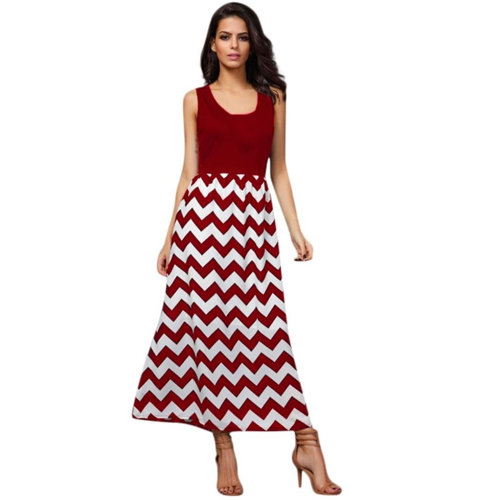Hongxin Mommy Me Wave Striped Print Sundress Vest Slim Dress Family Clothes Women'S Sleeveless Wavy Stripe Print Tank Dress Family Matching Clothes Creative Gift (L, mom red only)