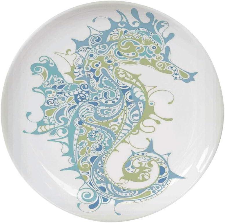 "Ylljy00 Animal Decor 8"" Dinner Plate,Greek Art Textured Ancient Seahorse Idol of Spiritual Life Cycle Artwork Ceramic Decorative Plates,Dining Table Tabletop Home Decor,Blue Green"