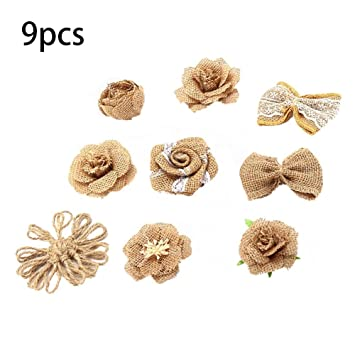 20pcs Jute Blumen Vintage Diy Sackleinen Rosen Deko Handgemachte