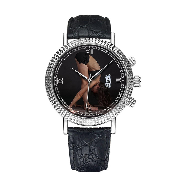 アナログクオーツ腕時計 – カレンダー日付シンクラシックカジュアルウォッチブラックレザーバンドLarge Face watches-personalityパターン313.ボディ、ストレッチ、ヨガ B07DFCTC39