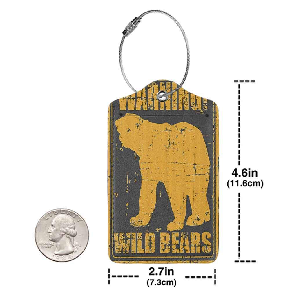 Multi-patterned luggage tag Retro Poster Decor Warning Wild Bears Quote on Grunge Background Vintage Illustration Double-sided printing Black Merigold W2.7 x L4.6