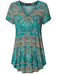 Women's Short Sleeve V Neck Flowy Tunic Top