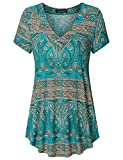 Vinmatto Women's Short Sleeve V Neck Flowy Tunic Top(XL,Multi Green)