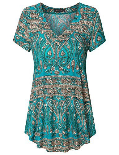 Vinmatto Women's Short Sleeve V Neck Flowy Tunic Top(L,Multi Green Blue)