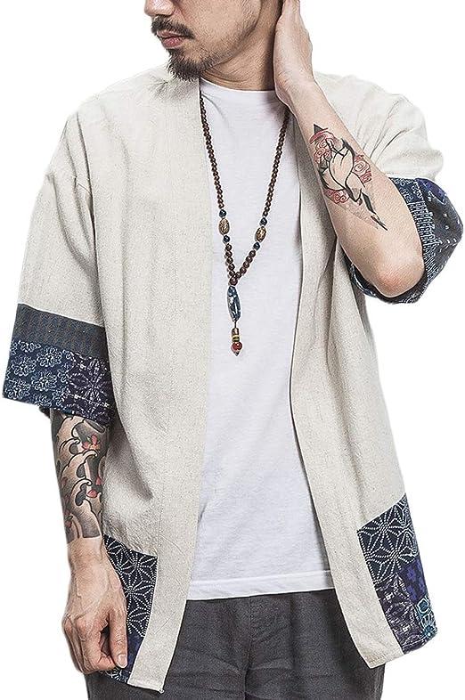 BLFGNCOB Chaqueta kimono japonesa para hombre parte frontal abierta talla grande siete mangas sueltas Negro Negro 2 M