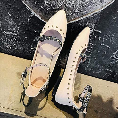 Y Conjunto Hebilla Salvaje Baja Con Femeninas Gold Purple 37 Corte Boca Tamaño Casual Zapatos Remaches Palabra Baotou De 37 10cm Sandalias Hhgold color qxv8n0tg