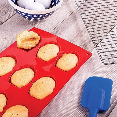Lot de 3 moules à madeleines en silicone à 9 trous Moule Forme Gâteau Cannelé Résistance Aux Hautes Températures pour gâteau, gelée, pudding, mousse, pâtisserie, bricolage, sans bpa