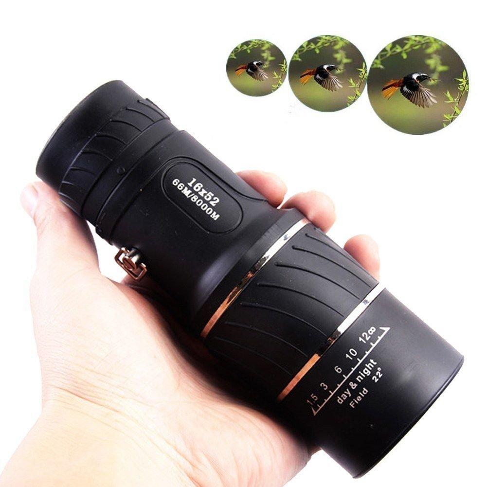 Nanle Doppio cannocchiale di messa a fuoco16X52 Visione notturna ad alta definizione HD grandangolare a doppia regolazione 1000 Telescopio monoculare per uccelli all'aperto Wildlife Camping Hiking Tourism Qingguo