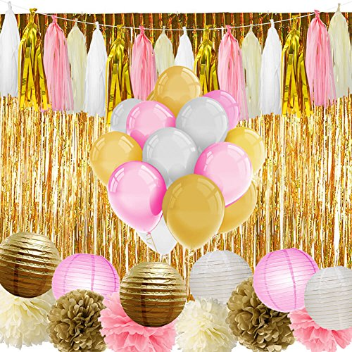 Birthday Decoration Items (Paxcoo Pink and Gold Party Supplies with Balloons Tissue Flowers Paper Lanterns Tassel Garland Fringe Curtain for Baby Shower Girl Birthday Decorations)