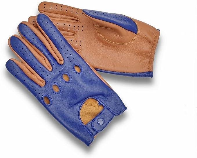Blue Sheep skin leather driving gloves for Men
