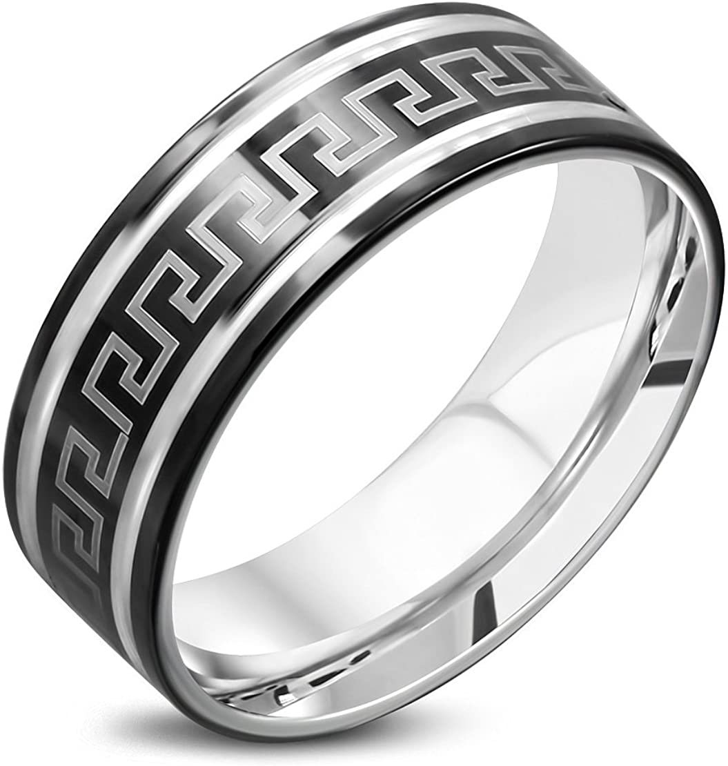 Stainless Steel 2 Color Greek Key Striped Comfort Fit Flat Band Ring
