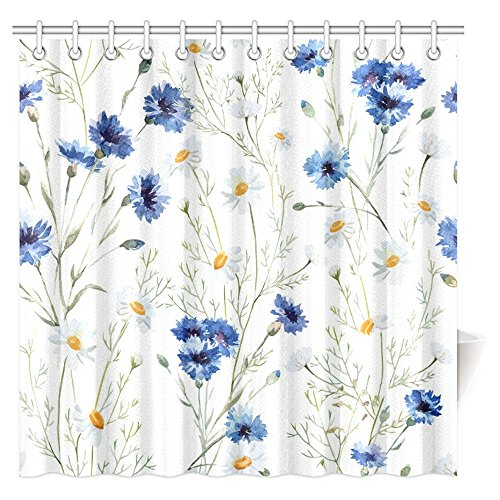 InterestPrint Watercolor Flower Decor Shower Curtain, Wildflowers Cornflowers Daisies Blooms and Buds Fabric Bathroom Shower Curtain Set with Hooks, 72 X 72 Inches Extra (Wild Daisy)