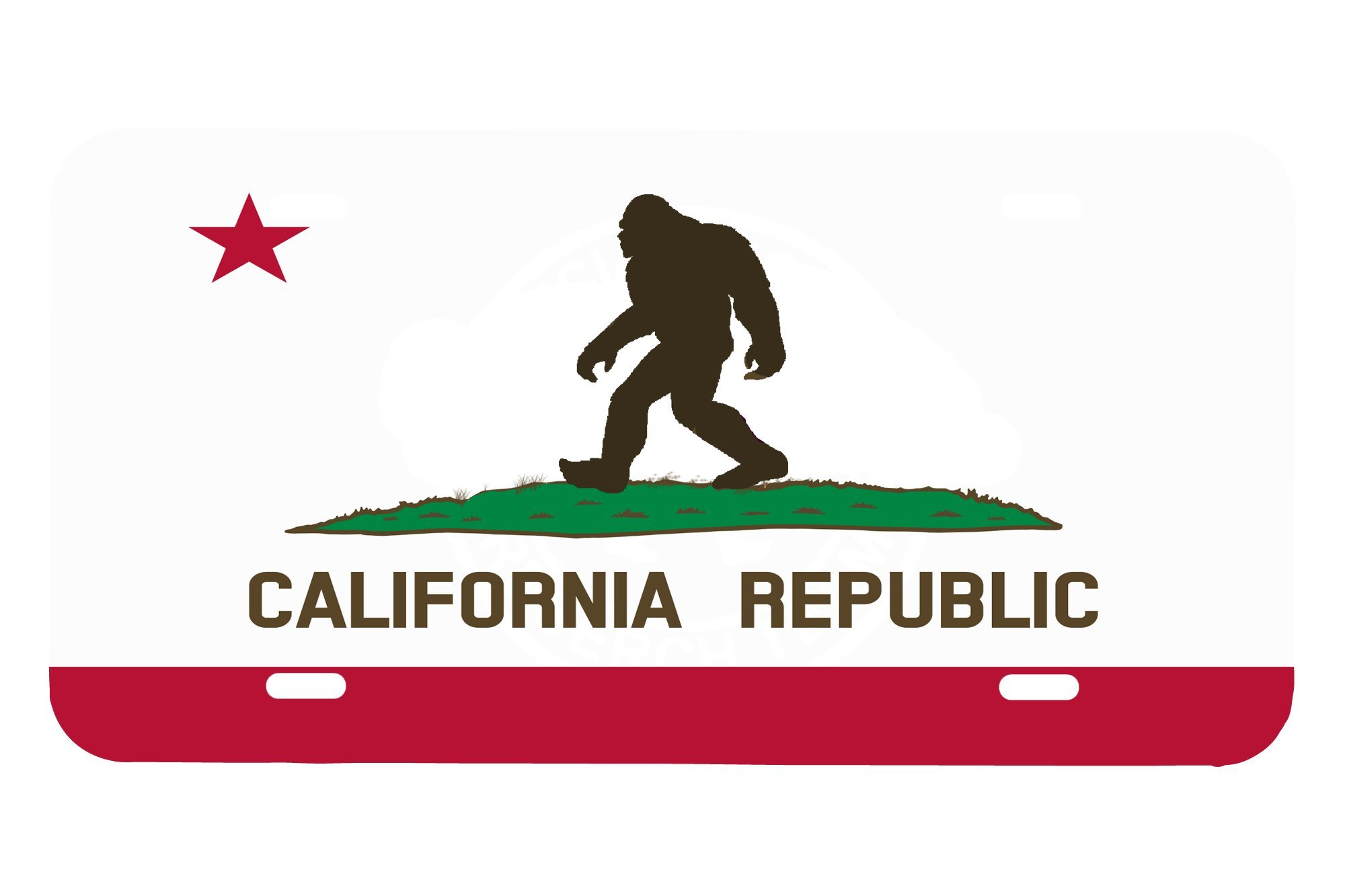 Bigfoot California Republic Flag Custom License Plate Sublimation Printed