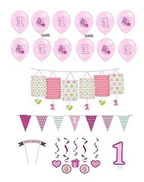 Decoración de cumpleaños de niña, 17 piezas, blanco y rosa, colorido, todo para una princesa