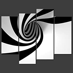 So Crazy Art- Black and White Wall Art Decor Abstract Circle Swirl Canvas Pictures Artwork 5 Panel Modern Painting Prints for Home Living Dining Room Kitchen