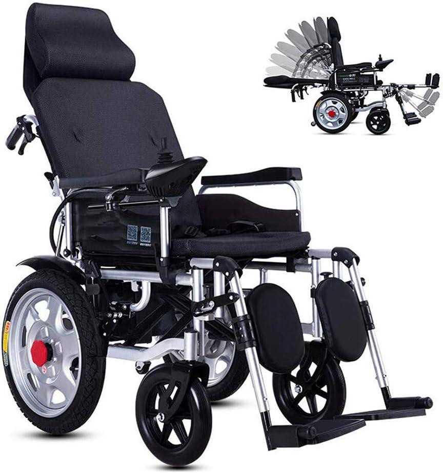 GYPPG Silla de Ruedas eléctrica con Respaldo reclinable, sillas de Ruedas de Movilidad Plegables portátiles eléctricas, batería de Litio de 24 V 24 Ah