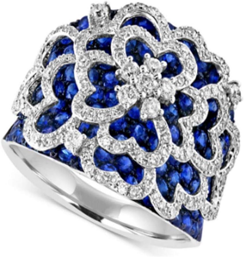 LMK Adornos de Piedras Preciosas Azules para Mujer Accesorios de joyería para Mujer Anillos de Boda de Compromiso de Plata