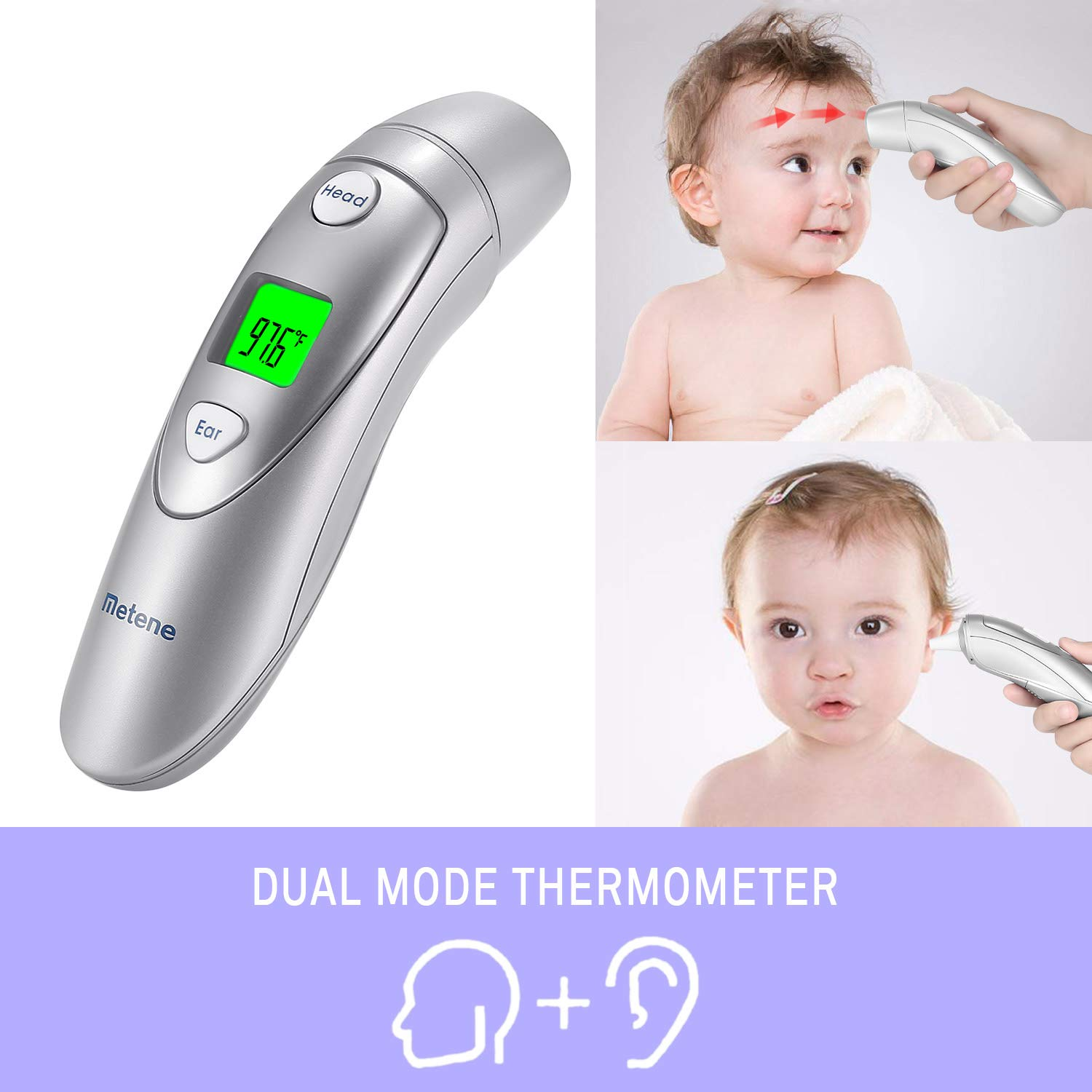 Metene Medical Forehead and Ear Thermometer,Infrared Digital Thermometer Suitable for Baby, Infant, Toddler and Adults