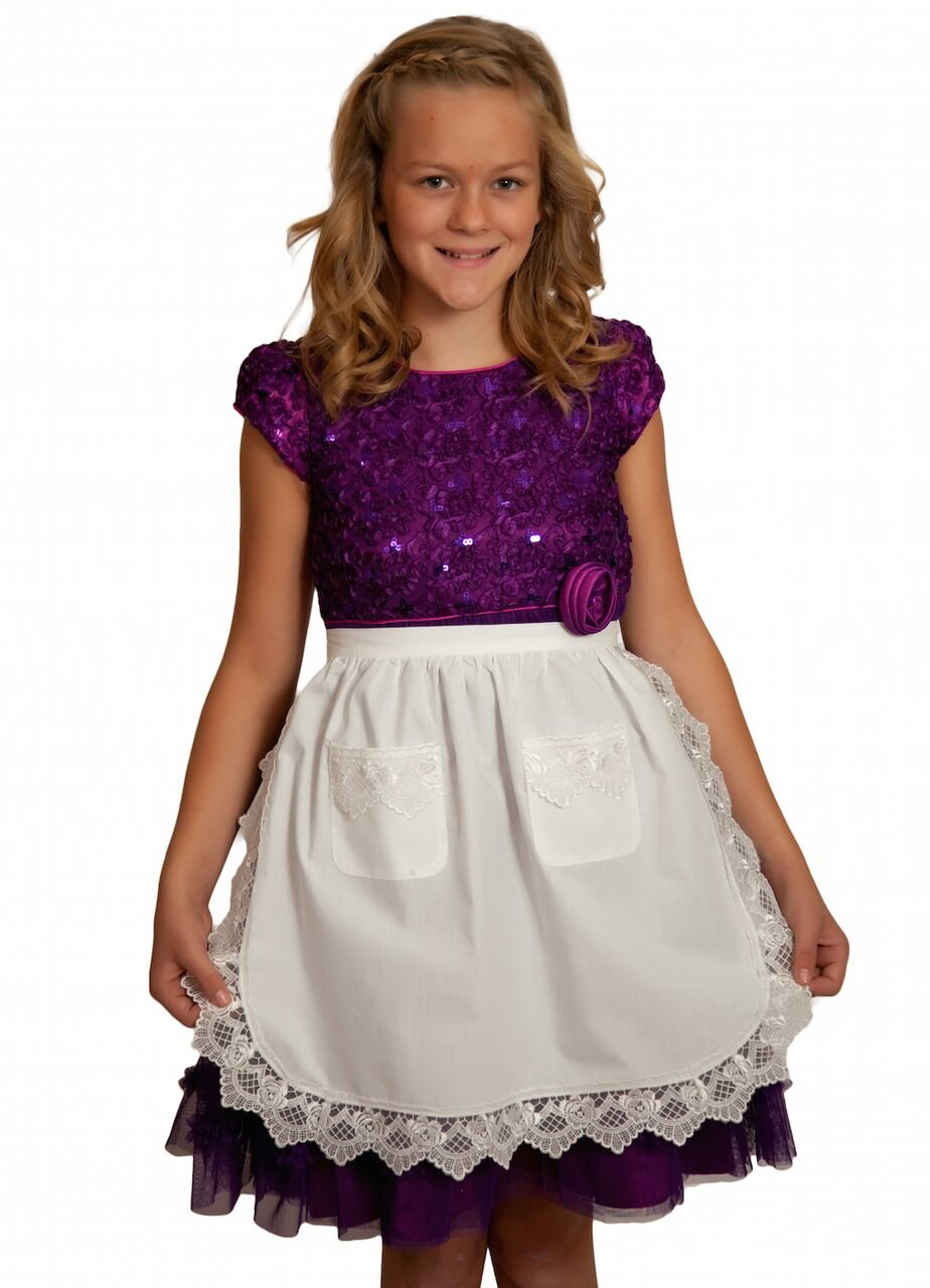 Deluxe Lace Deluxe Victorian Maid Costume Girls Half Apron Ecru (Off-white/beige) with Pockets