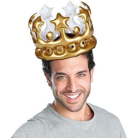 Sandistore Gorro hinchable de corona de oro metálico para ...