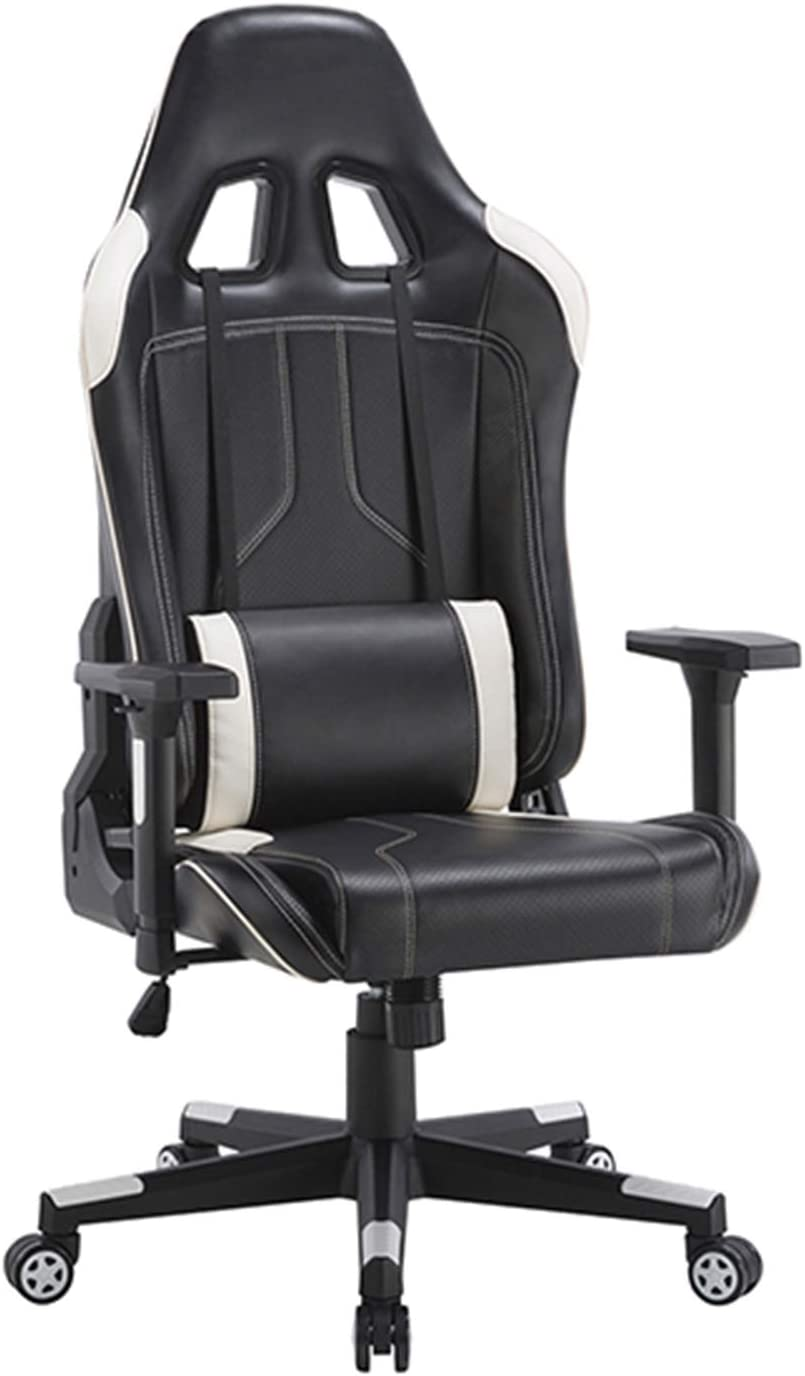 CLATINA Ergonomic Racing Office Chair Swivel Style with Adjustable PU Leather Back Support Lumbar Pillow Head and Arm Rest for Home Gaming