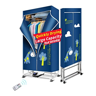 KASYDoFF Clothes Dryer Portable 3-Tier 1.7 Meters Foldable Clothes Drying Rack Energy Saving (Anion) Clothing Dryers Digital Automatic Timer with Remote Control for Apartment Houses