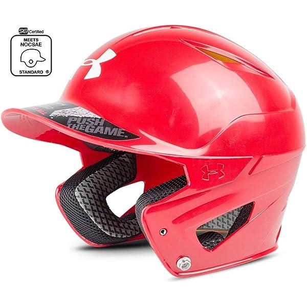 Under Armour UA Pro Matte Baseball Batting Helmet Jaw Guard Scarlet Right Hitter