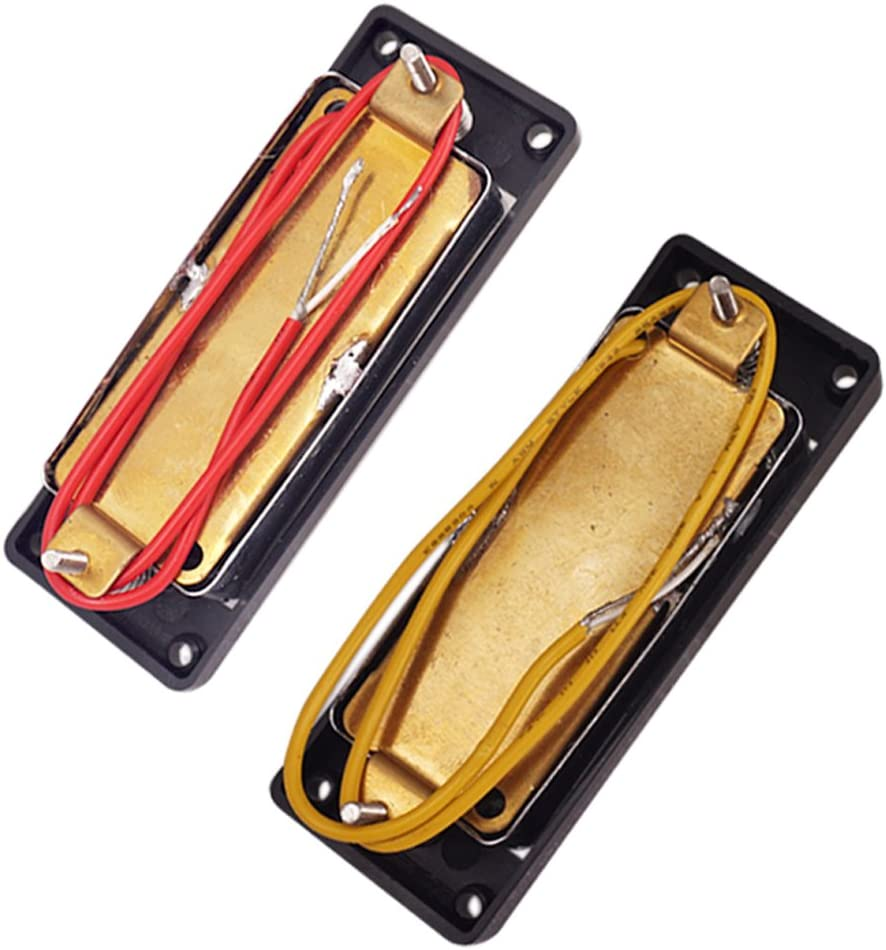 FLAMEER 2pcs Mini Micros Humbucker avec Pont Accessoire pour Guitare Electrique Basse /à 4 Cordes