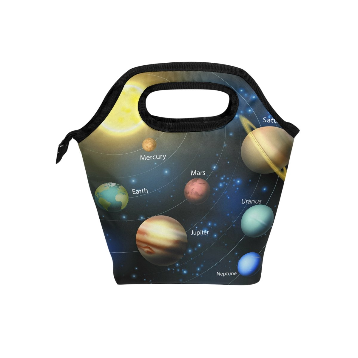Naanle Universe Space Insulated Zipper Lunch Bag Cooler Tote Bag for Adult Teens Kids Girls Boys Men Women, Solar System Lunch Boxes Lunchboxes Meal Prep Handbag for Outdoors School Office