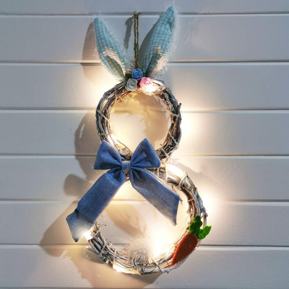Guirnalda de Puerta de Pascua Fyeep Guirnalda de decoraci/ón de Pascua Guirnalda de Conejito de Pascua con Luces Guirnalda de Luces LED de Pascua Adorno Colgante,Azul Guirnalda de Conejo en Flor