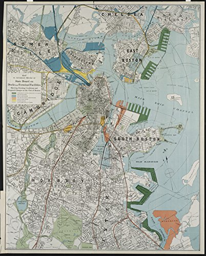Historic Map   1896 Map to accompany report of State Board on Docks and Terminal Facilities : showing existing conditions and proposed changes at the Port of Boston   Antique - Terminal Map Boston
