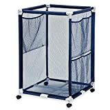 Essentially Yours Pool Floats, Toys, Balls and Equipment Mesh Rolling Organizer Storage Bin, Large, Blue