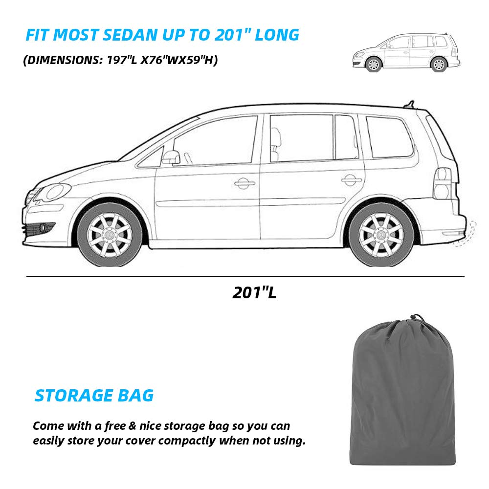 WOKOKO Car Cover for Sedan 6 Layers Universal Car Cover All Weather Windproof Snow-Proof Dust-Proof Scratch Resistant UV Protection Full Car Cover Fit for Sedan L 167-191