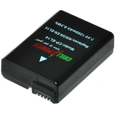 Batería ChiliPower Nikon EN-EL14, EN-EL14a 1250mAh para Nikon Coolpix P7000, P7100, P7700, P7800, DSLR D3100, D3200, D5100, D5200, D5300, Nikon Df