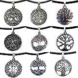 OhDeal4U Tree of life Pagan Celtic Yggdrasil Bonsai pewter pendant w Black PVC Necklace