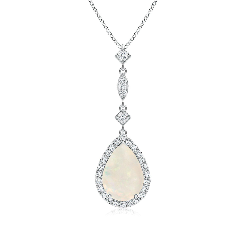 Angara Opal Drop Pendant in Platinum - October Birthstone Pendant 4h3vkdtE