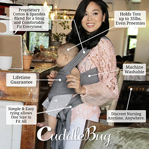 Baby Wrap Ergo Carrier Sling - by CuddleBug - Available in 8 Colors - Baby Sling, Baby Wrap Carrier, Nursing Cover - Specialized Baby Slings and Wraps for Infants and Newborn (Grey) by CuddleBug (Image #2)