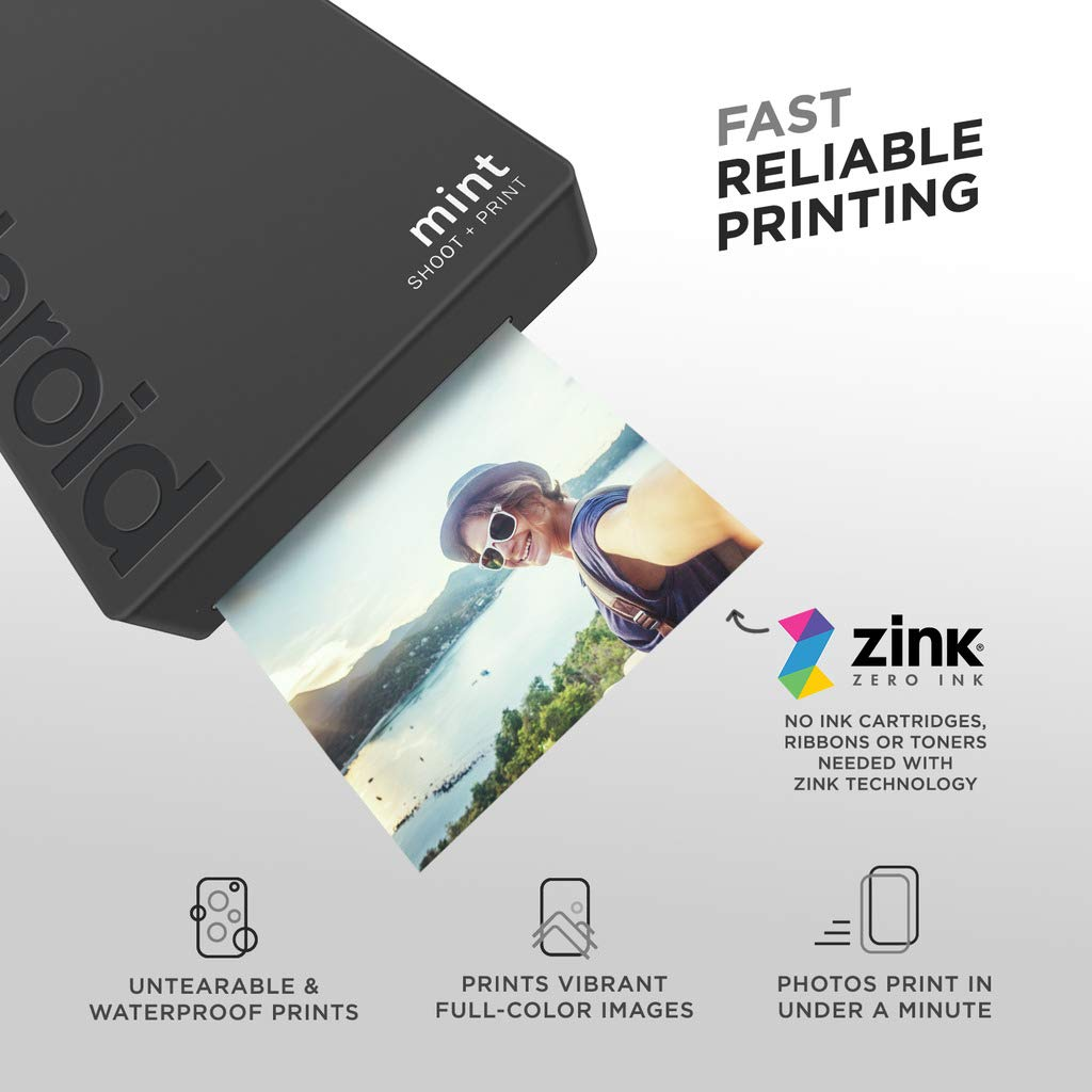 Polaroid Mint Instant Digital Camera (Black) Art Bundle + Paper (20 Sheets) + 8x8 Cloth Scrapbook + Pouch + 12 Twin Tip Markers + 100 Border Stickers + 6 Decorative Scissors + Washi Tape by Polaroid (Image #3)